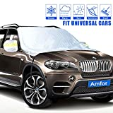 Car Windshield Sun Cover, Weatherproof Aluminum Film Ice Frost Rain Shade Protector with Windproof Strap Hooks, Rearview Mirror Wings, Magnets, Fits for SUV, Vans, Truck, Universal Cars