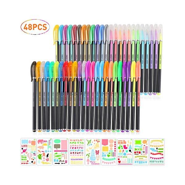 BBLIKE - Juego de cuaderno de bolas de gel, 0.039in, 48 unidades, 9 plantillas para cuadernos, manualidades, álbumes de recortes, tarjetas de regalo, artículos de papelería para la escuela, y perfecto para colorear libros y calendarios, notas para colorear arte