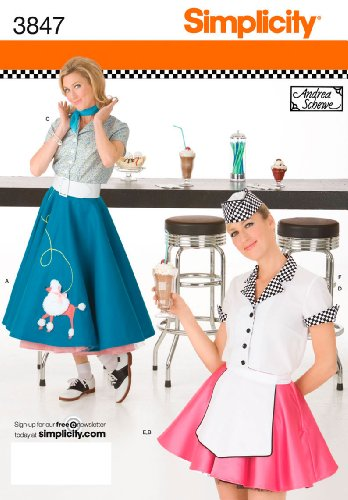 [Simplicity Sewing Pattern 3847 Misses Costumes, HH (6-8-10-12)] (50s Costumes Women)