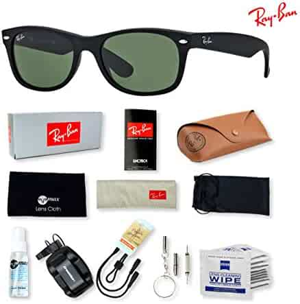 02e63e9677 Ray-Ban RB2132 New Wayfarer Sunglasses with Deluxe Eyewear Accessories  Bundle