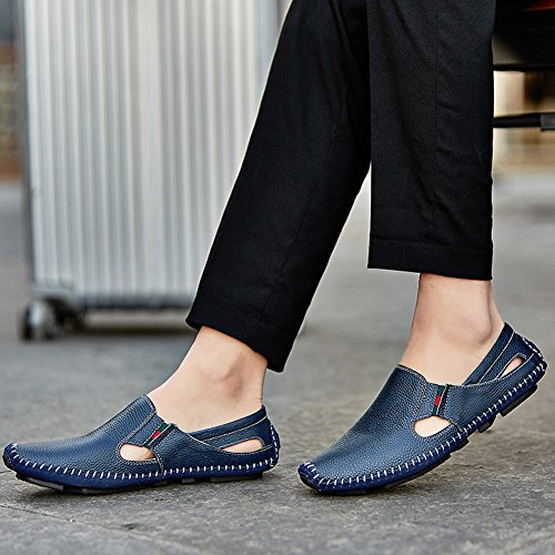 Casual Shoes Summer Blue Loafers Slip in on Fashion Leather Noblespirit Driving Mens Shoes Slipper wqZTY6TSx