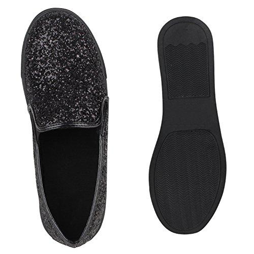 ... Stiefelparadies Damen Sneakers Metallic Glitzer Schuhe Pailletten  Sneaker Slip Ons Slipper Fransen Schleifen Flats Ethno Prints 6da3ffcf58