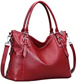 Heshe Womens Genuinne Leather Handbags Tote Top Handle Bag Shoulder Bag for Women Crossbody Bags Ladies Designer Purse (LWine)