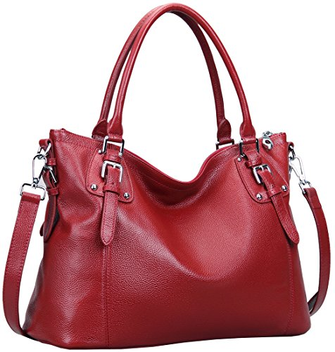 Heshe Women's Leather Handbags Shoulder Tote Bag Top Handle Bags Satchel Designer Ladies Purses Cross-body Bag (LWine)