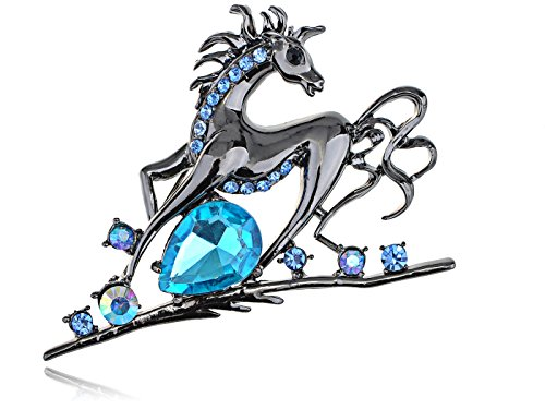 Alilang Gun Metal Tone Sapphire Colored Rhinestones Horse Stallion Brooch Pin (Colored Rhinestone Costume Jewelry)