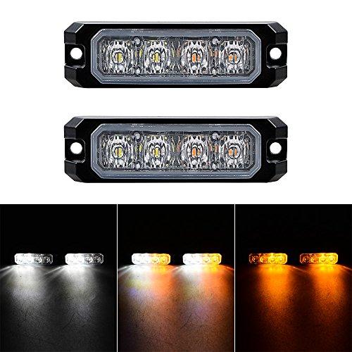 White Amber Warning Lights Waterproof Emergency 4 LED Beacon Hazard Strobe Lamps 11 Modes Ultra Slim Bar Safety Flashers - Bar Anzio
