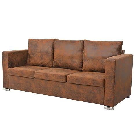 vidaXl Sofa de 3 plazas 191x73x82 cm piel de ante artificial ...