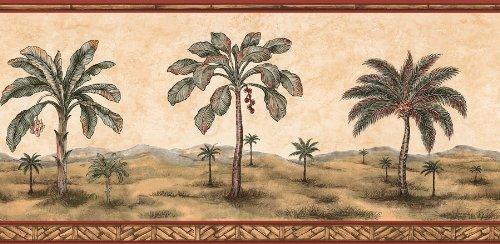 Brewster 499-64181 Palm Tree Border Wallpaper, Tawny by Brewster