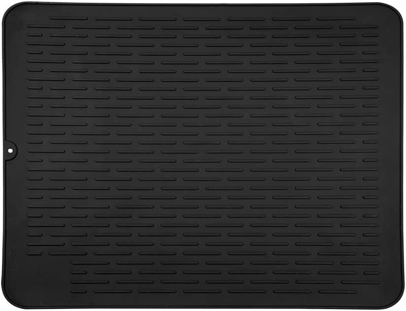 "Piduules Eco-friendly Silicone Dish Drying Mat 18"" x 15.8"" X-Large Reusable Non-slipping and Heat Resistant Dish Quick Drying Pad, Dishwasher Safe (Black XL)"