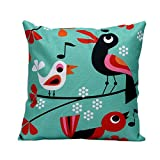 Pgojuni Natural Cotton Linen Durable Square Throw Pillow Cover Cushion Cover Pillow Case for Sofa/Car/Bed 1pc (F)
