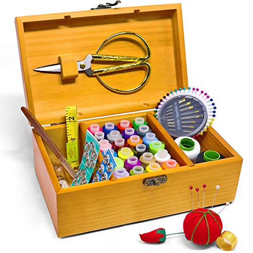 Review Jolitac Sewing Kit Box Wooden Sewing Basket Home Repair Tool Set with Needle, Scissors and Thread Art Craft Supplies