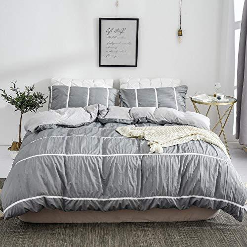 DuShow Queen Stripe Duvet Cover Set Gray Seersucker 3 Pieces Comforter Cover Set with Zipper Closure Soft Hypoallergenic Hotel Quality