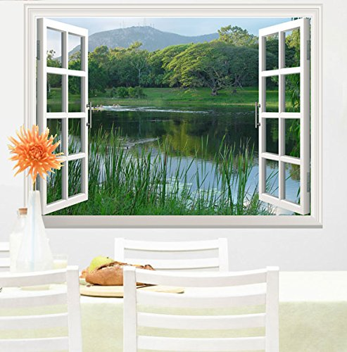 """wall26 Peaceful Lake with Green Mountain and Trees Open Window Mural Wall Sticker - 24""""x32"""""""