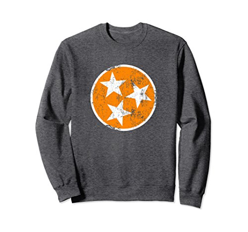 State Flag Sweatshirt (Unisex Tennessee Flag Sweatshirt Orange & White Distressed TN State 2XL Dark Heather)