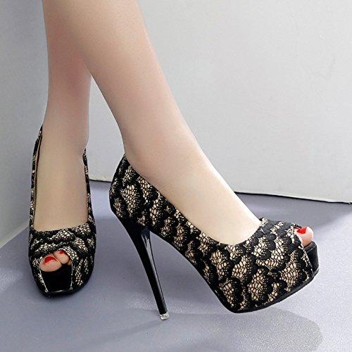 Pour 34 De Impermables Chaussures Rondes En Cm La Dentelle Talons Sandales Des Tte Tawan Noires Avec Femmes 12 H6qnRw