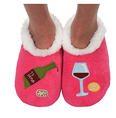 Snoozies Womens Classic Splitz Applique Slipper Socks (Small, Bottle of Red)