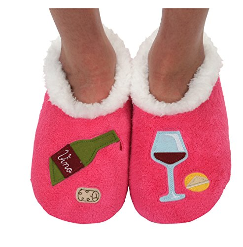 Snoozies Womens Classic Splitz Applique Slipper Socks (Large, Bottle of Red)