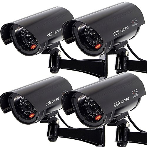 Masione 4 PACK OUTDOOR FAKE / DUMMY SECURITY CAMERA w/ Blinking Light CCTV SURVEILLANCE (Black)
