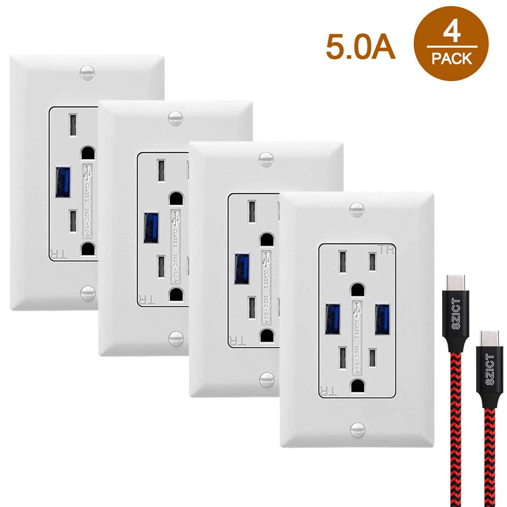 USB Wall Outlet Receptacles with USB 4 Pack 5.0A Quick Charging USB Receptacle, 15A Tamper Resistant USB Wall Outlet with 2 Wall Plates and USB Cable, White
