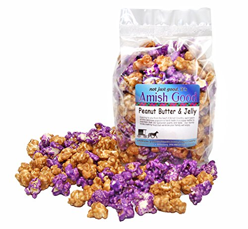 Amish Good Premium Peanut Butter and Jelly Popcorn - Hand Stirred in Copper Kettle Real Butter and Coconut Oil Makes Better Popcorn! (12 oz Bag)