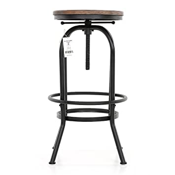 Tabouret De Bar Amazon.Ikayaa Tabouret De Bar Industriel En Pin Et Metal Hauteur Reglable Chaise De Petit Dejeuner 1