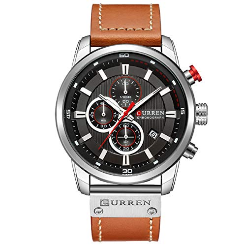 Mens Watches Military Chronograph Large Face Designer Dress Waterproof Sport Wrist Watch Business Analogue Leather Watches for Men - Brown Silver