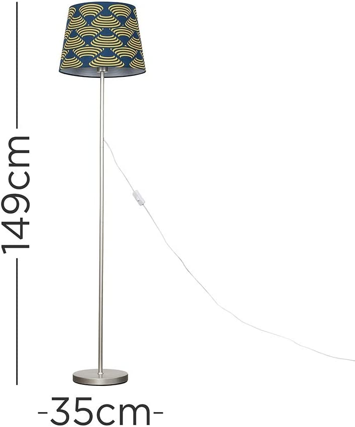 Modern Standard Floor Lamp in a Brushed Chrome Finish with a Mustard /& French Blue Patterned Shade