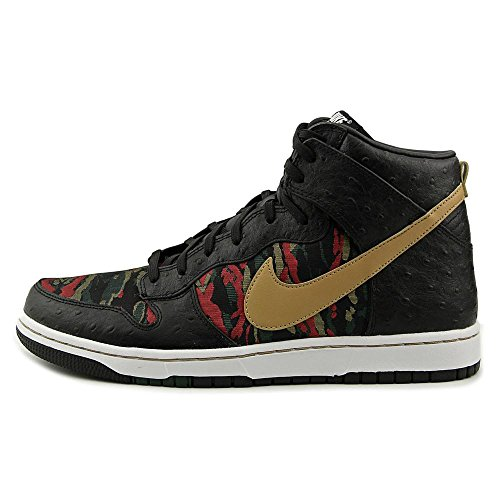 Nike Men's Dunk CMFT Prm Qs Black/Flt Gold Hypr Rd Grg Grn Basketball Shoe 8 Men US by NIKE (Image #4)