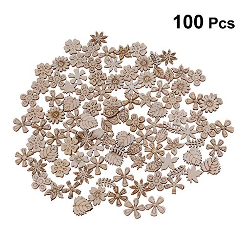 SUPVOX 100pcs Wood Discs Slices Flower Shape Unfinished Wooden Cutouts Craft DIY Decoration