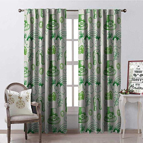 Hengshu Happy St. Patricks Day Freehand Clover Hat Ra Bow Room Darkening Wide Curtains Decor Curtains by W72 x L84