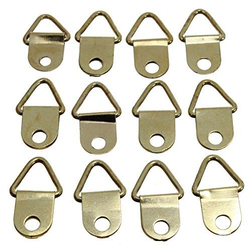 Funnytoday365 Universal Strong Golden 50Pcs D Rings Decor Picture Frames Hanger Hooks Hanging Triangle Screws Helper