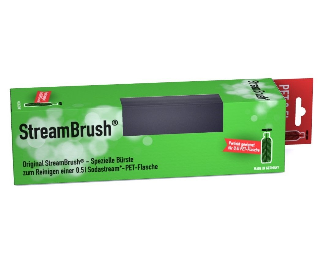 StreamBrush® Flaschenbürste für 0,5 Liter PET Sodastream Flaschen - Made in Germany Rydges® Media Technology