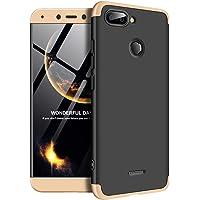 """Kit Capa Capinha Anti Impacto 360 Para Xiaomi Redmi 6 Tela 5.45"""" - Case Acrílica Fosca Acabamento Macio Com Película De Vidro Temperado - Danet (Preto Com Dourado)"""