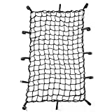 CZC AUTO 22'x38' Black Latex Bungee Cargo Net Strech to 44'x76', Luggage Netting with 2'X2' Small Mesh and 12 Adjustable Plastic Hooks, for Rooftop Cargo Carrier Roof Rail Rack Hitch Basket SUV