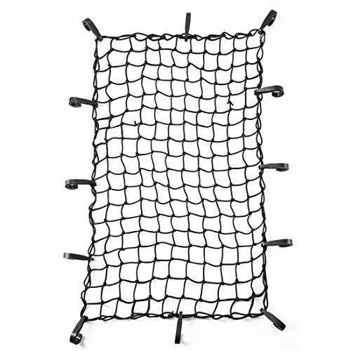 """CZC AUTO 22""""x38"""" Black Latex Bungee Cargo Net Strech to 44""""x76"""", Luggage Netting with 2""""X2"""" Small Mesh and 12 Adjustable Plastic Hooks, for Rooftop Cargo Carrier Roof Rail Rack Hitch Basket SUV"""