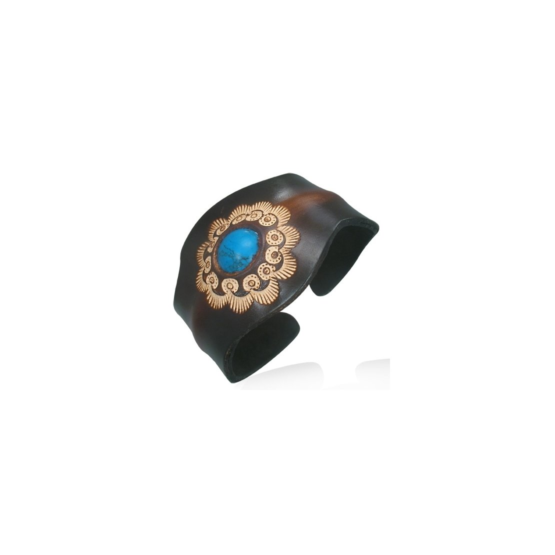 Genuine Leather Engraved Flower Sun Emblem Cuff Bangle with Turquoise Length 6.8