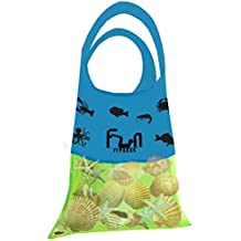 MESH BAG - Premium Net Tote Perfect for Kid Pool Toy, Seashells, Beach Towel, Swimsuit - Keep Sand and Water Away - Go Well with Sand Dipper & Sea Shell Sifter Tool - Easy to Carry in Cute Fish Pocket