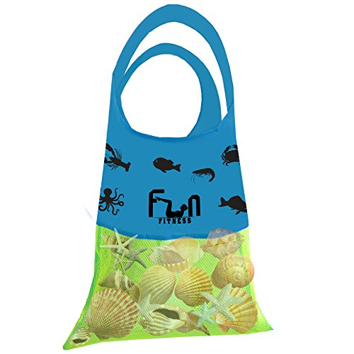 Mesh Shell Bag Sand Toy (Neon Green, Large 15''x23'') - Net Tote Perfect for Kid Beach Toys, Seashells, Pool Towel, Swimsuit - Keep Sand and Water Away - Go Well with Sand Dipper & Sea Shell Sifter -