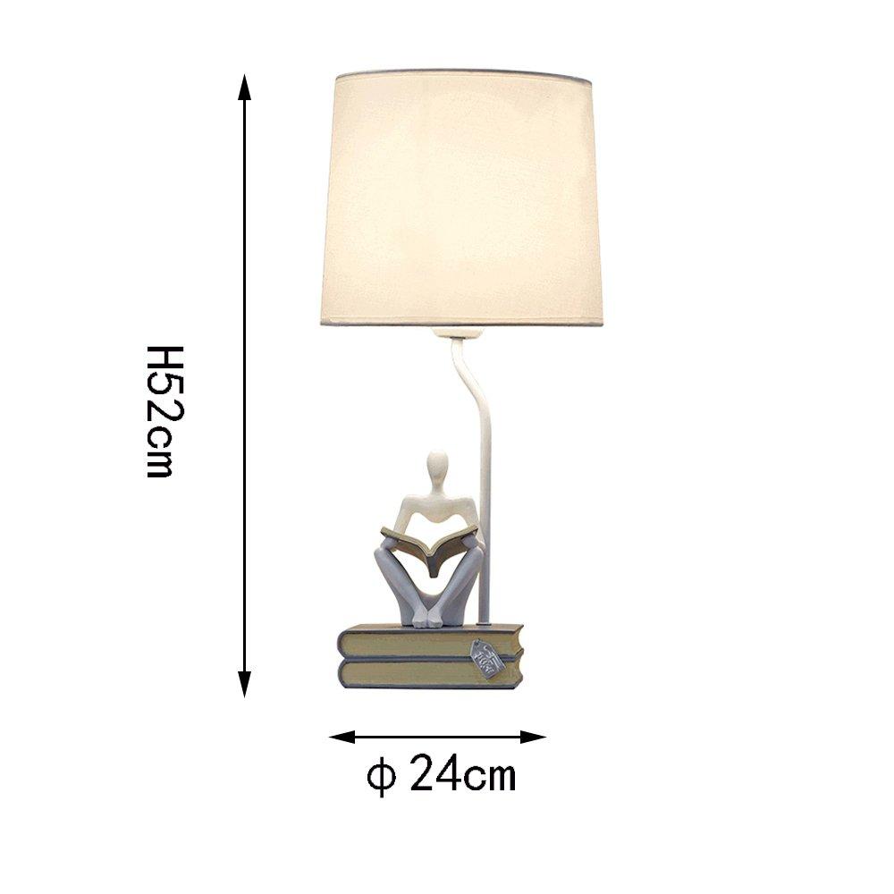 X-best Lámpara de Mesa de Resina Minimalista nórdica Luces de y Lectura para el Dormitorio y de la Sala de Estar y Escritorio Lámpara de Mesa de Sombra de Tela, D24cm H52cm E27 (Color : Blanco) 803a4d