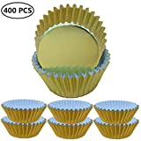 Cupcake Cups Baking Liners Muffin Wrappers Paper Gold Foil Metallic Disposable Greaseproof Standard Size 400 Pcs
