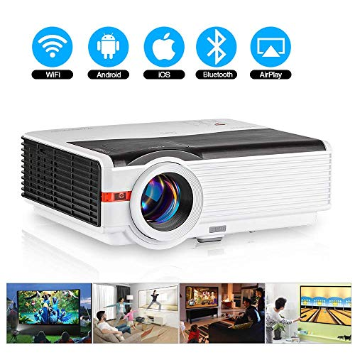 6000 Lumen HD Outdoor Bluetooth Wifi Projector LED LCD Home Cinema Theater Proyector WXGA Video Gaming Projector Zoom…