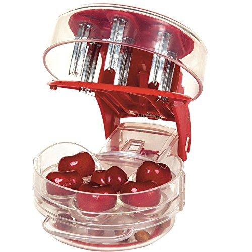 - NewFerU Kitchen Aid Cherry Pitter Stainless Steel Plastic Deluxe Multi Fruit Pit Corer Core Cutter Remover Prep Helper Machine Mason Jar Tool Gadget Red for 6 Cherries Plums Olives Berries (Piter)