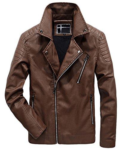 Asymmetrical Zip Biker Leather Chouyatou Pu Moto Vintage Brown Men's Quilted Jacket Hqn6Sxwp