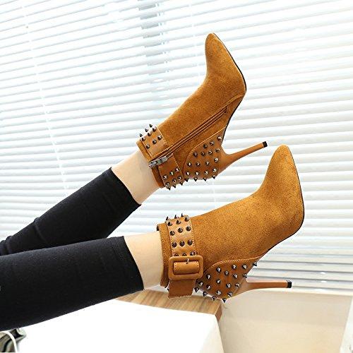 KHSKX-Eine Schöne Mit Nieten Hochhackige Schuhe Stiefel Martin Kurze Stiefel Im Herbst Und Winter Alle Britischen Stil - Match brown