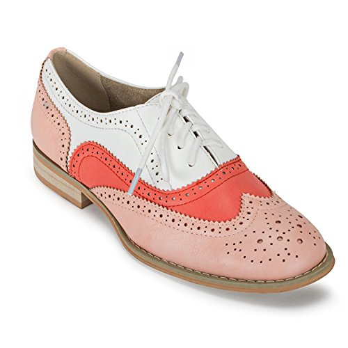 Wanted Womens Babe Pink Orange White Oxford - 9