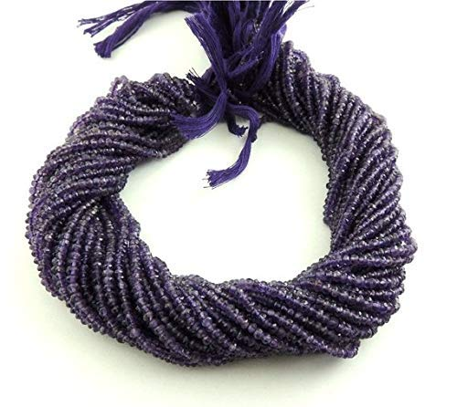 - 5 Strand Natural Amethyst Facet 2.5mm to 3mm Sparkling Finest Quality Rondelles 13.5 inch by Gemswholesale