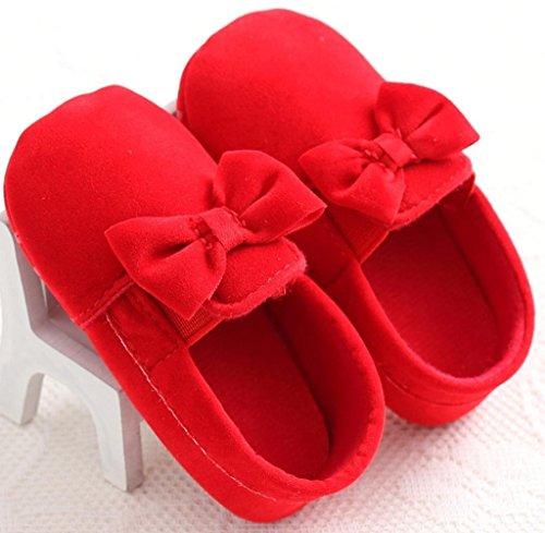 Zapatos de bebé,Tongshi Niñas Niño Cuna Recién Nacido Bowknot Suave Suela Antideslizante Princesa Zapatos Rojo