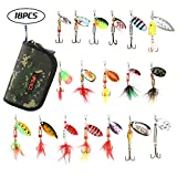RUNCL Fishing Spinners, Minnow/Dressed Spinners, 10/18pcs Hard Metal Spinners - Hand-Tied Hackle Tail, Shaft-Through-Blade Design, Treble Hooks, Proven Patterns, Carry Box/Pouch
