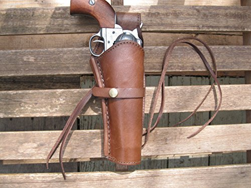 Western Gun Holster - Brown - Right Handed - for .38, .45 Caliber single action revolver Size 8