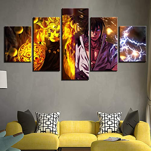 5 Panels Wall Art Naruto VS Sasuke,Sabaku No Gaara Print On Canvas Stretched and Framed Paintings Ready to Hang for Home Decorations Gift,Woodenframed+A,200X100cm